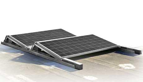 Estructuras para placas solares en cubiertas planas, sistema AF-AERO, Solarstem